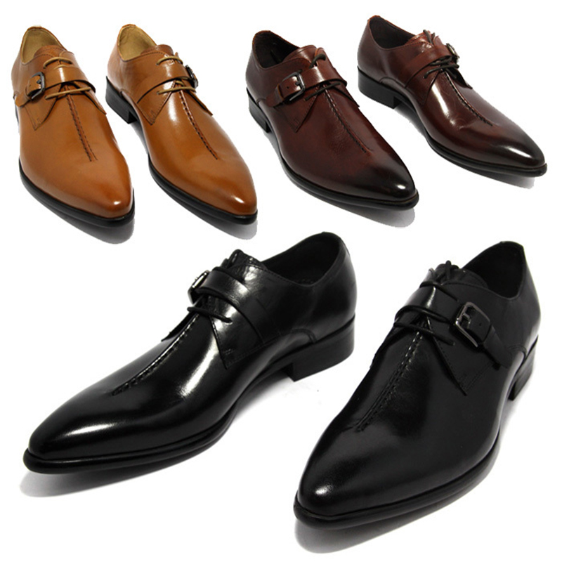 2016 oxford shoes Deep coffee color /Dark yellow/ black mens business dress shoes genuine leather pointed toe mens wedding shoes(China (Mainland))