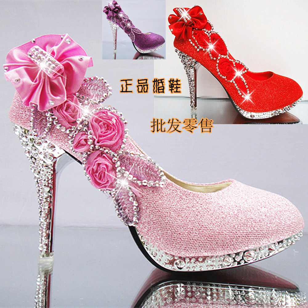 Spring and summer women's shoes high heeled wedding shoes white green thin crystal heels shallow mouth red bridal shoes(China (Mainland))