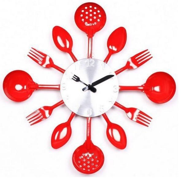 Wall clock modern design Knife Fork Spoon Originality clocks Kitchen Restaurant The wall Decoration quartz metal times mute hour(China (Mainland))