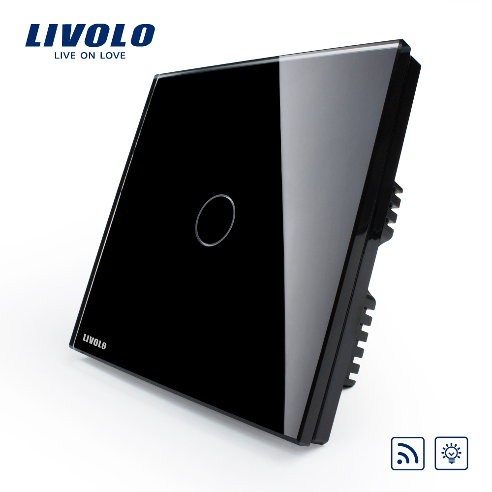 Free Shipping, Livolo Remote Switch, Black Crystal Glass Switch, Wall Light Wireless Remote Dimmer Switch, VL-C301DR-62<br><br>Aliexpress