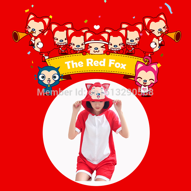 Free Shipping Cheap Female Summer Short-sleeve Sweet Nightgown Cotton Cosplay Costume Red Fox Pajama Set Dress Onesies(China (Mainland))