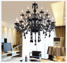 18 Lights Luxury black crystal Chandelier lighting lamp candle crystal chandelier lamp brief fashion living room lamps lighting(China (Mainland))
