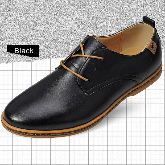 New Trend 2015 Men Shoes Leather Shoes Casual Leather Black /Brown Lace-up Shoes Flat Leather Loafers Sneakers(China (Mainland))
