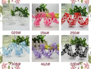 28mm hollow musical note solid grosgrain ribbons hair accessories 50 yards 6 colors in stock
