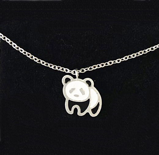 1Pcs Cute Panda Enamel Necklace Women Stainless Steel Jewellery Gold Silver Plated Fashion Bijoux Gifts Online Shop China(China (Mainland))