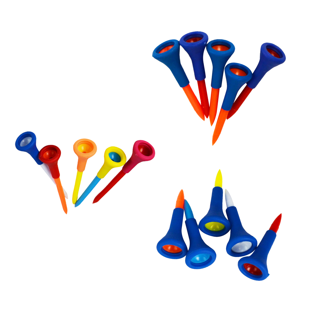 5 Pieces Rubber + Plastic Soft Rubber Cushion Top Golf Tees Accessories Random Color Short Medium Long Random Color