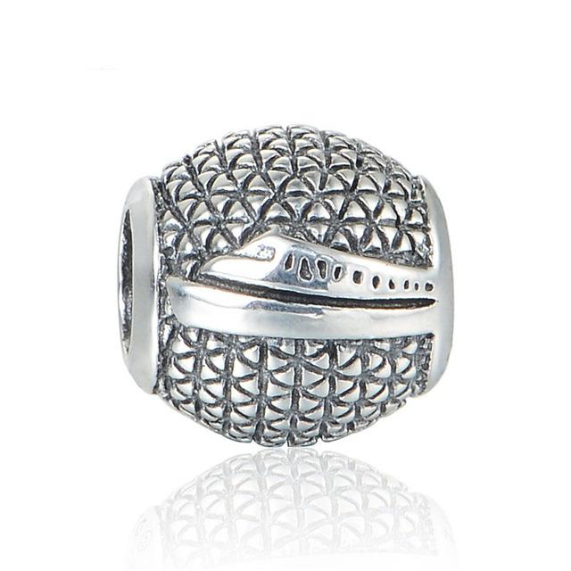 925 серебряные ювелирные изделия бусины круглый резные корабль в океан бусины Fit подвески пандора браслет DIY мода ювелирных изделий серебро 925