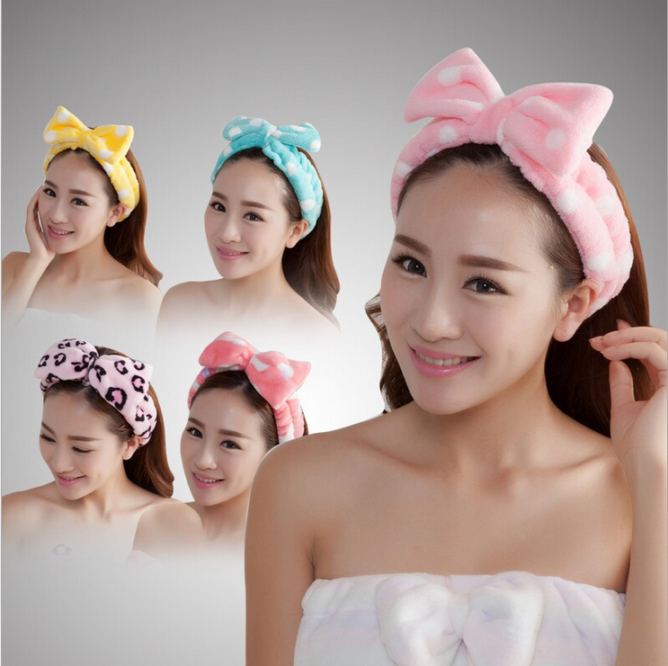 2015 women blue bow hair band belted Polka Dot plush velvet lady headband makeup bath wash scarf RD873860(China (Mainland))
