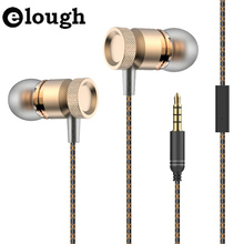 Elough Universal Earphone For Phone Heavy Bass Sound Earpods With Mic Metal Stereo Earphone For iPhone Computer Earbuds Earpiece(China (Mainland))