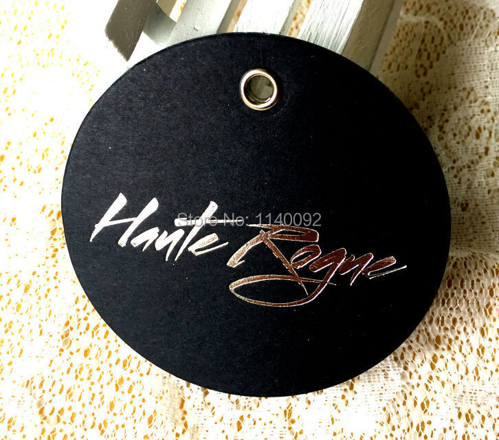 customized clothing hang tag/garment black matte paper tags/cardboard paper tag with silver embossed logo/round label printing(China (Mainland))