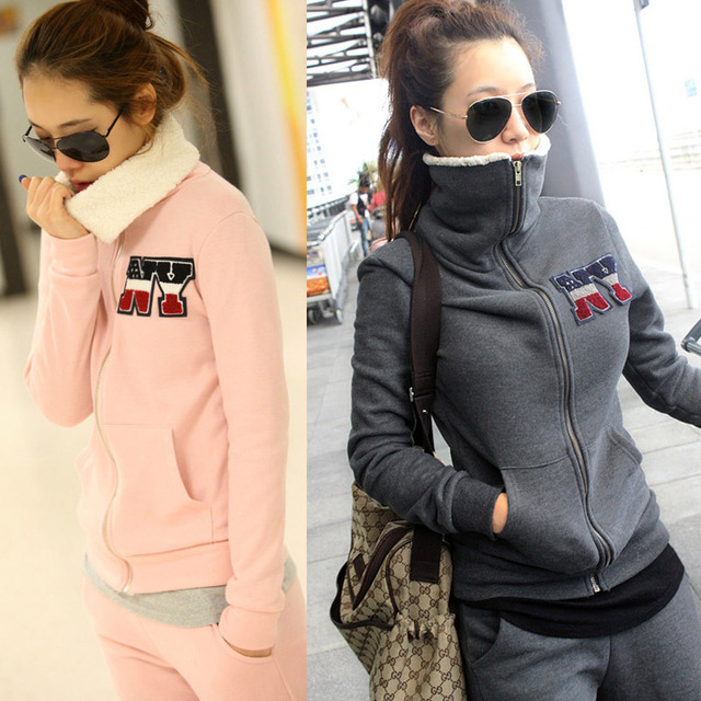 New Fall NY Women's Turtleneck Sweatshirt Sports Suits Pink Cardigan Zipper Tracksuit Thickening Fleece Women Clothing Hoodies