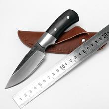 Ручной ковки нож / резкое высокоуглеродистой стали черного дерева ручка прямой нож / острый край открытый выживания спасательных охота карманный нож