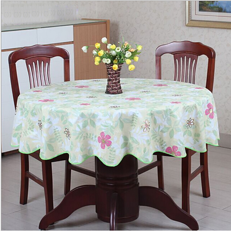 Pastoral Round Table Cloth PVC Plastic Table Cover Flowers Printed tablecloth Waterproof Home Party Wedding Decoration(China (Mainland))