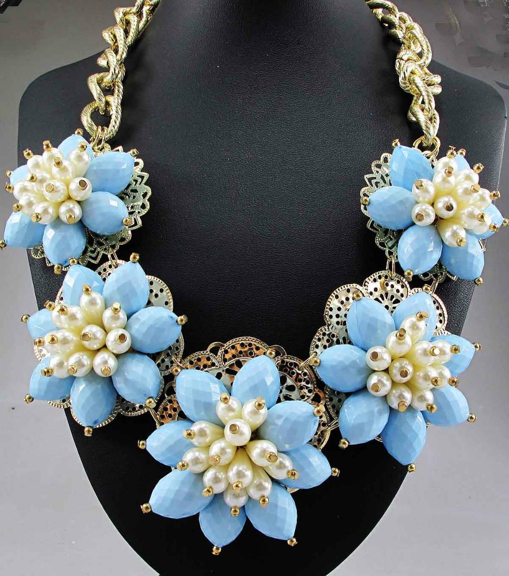 Newest Gorgeous Fashion Necklace Jewelry Blue Orange Department bib Statement Women Choker Necklaces & Pendants Q642 3 53(China (Mainland))
