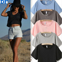 Clearance Crop Top 2015 Summer Style Top Quality T Shirt 6 Color Women Tops Loose Casual T Shirt Women Harajuku Women`s T Shirt