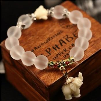 Естественная матирование кристалл браслет супер сладкий elephant женщины браслет ...