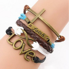 Feitong 2016 Handmade Adjustable Cross Multilayer Bracelet Women Girl Faith Heart Love Wristband Promotions(China (Mainland))