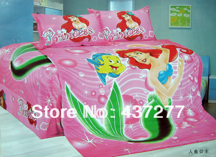 fish little mermaid bedding set quilt cover, flat sheet/bed sheets, pillow cases,100 cotton children duvet covers comforter sets(China (Mainland))