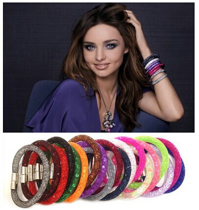 2015 New Mesh Stardust Bracelets With Crystal Stone Filled Magnetic Clasp Charm Bracelet & Bangle For Women Jewelry(China (Mainland))