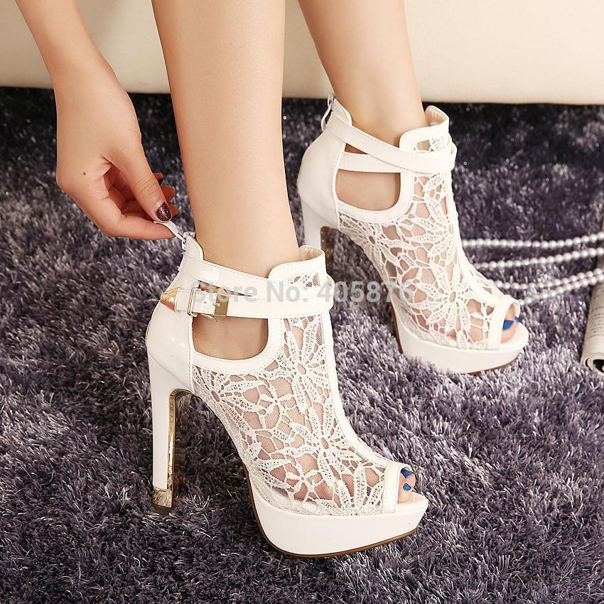 2015 New New Lace Women Platform Pums Sandals White Mesh Black High Heels Peep Toe Shoes(China (Mainland))