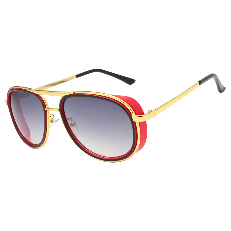 2016 Fashion Oval Plastic Metal Frame AC Lens UV400 Metal Sun Shading Vintage Outdoor Driving Sunglasses for Women and Men(China (Mainland))
