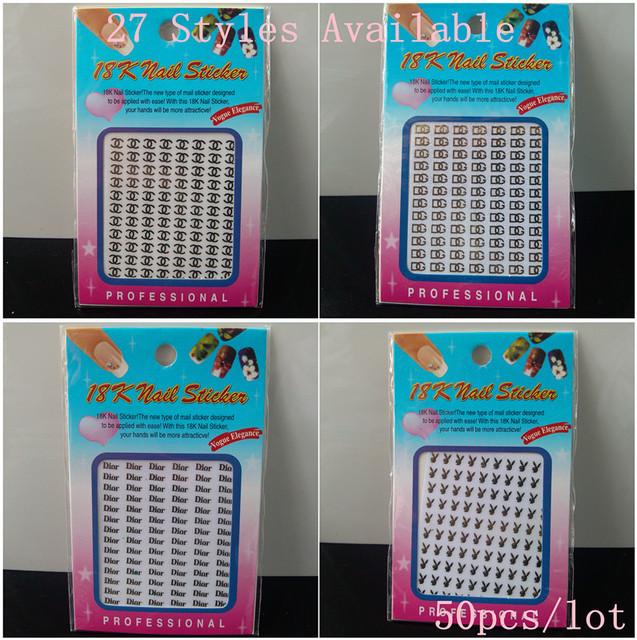 Hot !! Brand Name 18K 3D Metal Nail Art Sticker / 3D nail sticker / Nail Decals, 50pcs/lot + Free Shipping