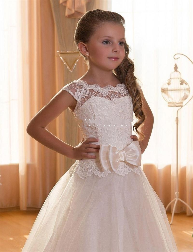 Lovely flower girl dress for weddings first communion for Wedding dresses for young girls