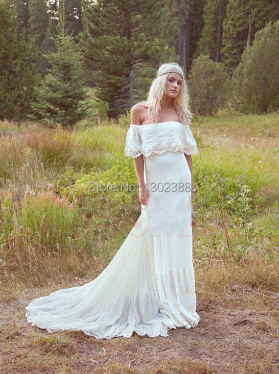 Off The Shoulder Lace Bohemian Wedding Dresses 2015 Bridal