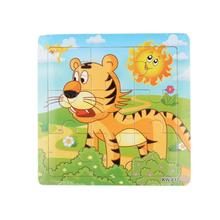 Hot sell Cartoon Wooden Tiger Jigsaw Toys For Kids Education And Learning Puzzles Toys 1 set for children's creativity