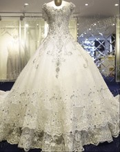 Luxurious Ball Gown V Neck Crystal Beaded Cathedral/Royal Train Tiered Skirt Long Train Wedding Dress Gown With Appliques MF422(China (Mainland))