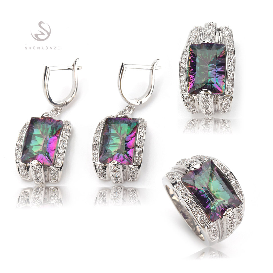 Classic Rainbow Mystic Topaz Silver Plated Vintage Best Sellers fashion Jewelry set (ring/earring/pendant) 704set sz#6 7 8 9(China (Mainland))