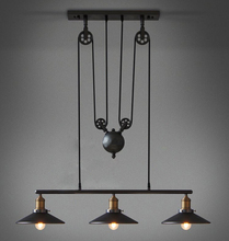 1,2,3 Head Ancient Industrial Style American Country vintage loft pulley pendant lights adjustable pendant lamp free shipping(China (Mainland))