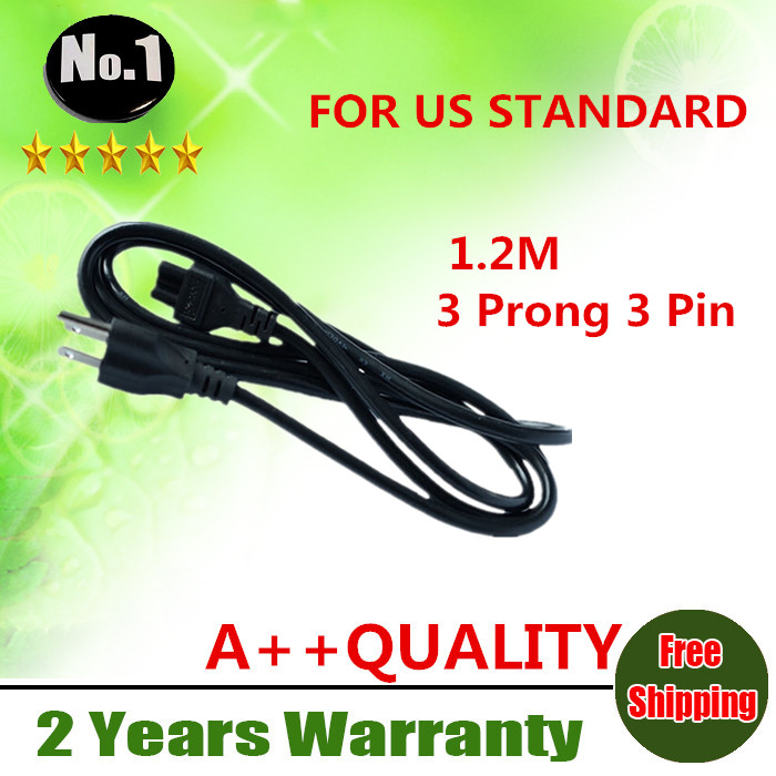 WHOLESALE Black 1.2M US 3 Prong 3 Pin AC Laptop Power Cord Adapter Cable FREE SHIPPING(China (Mainland))