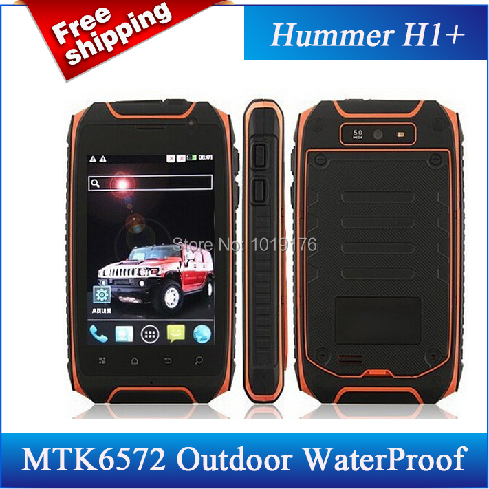 In stock!Original Hummer H1+ Outdoor WaterProof Android 4.2 Cell Phone 4GB ROM Dual Core 1.3Ghz MTK6572 5MP GPS/Avil(China (Mainland))