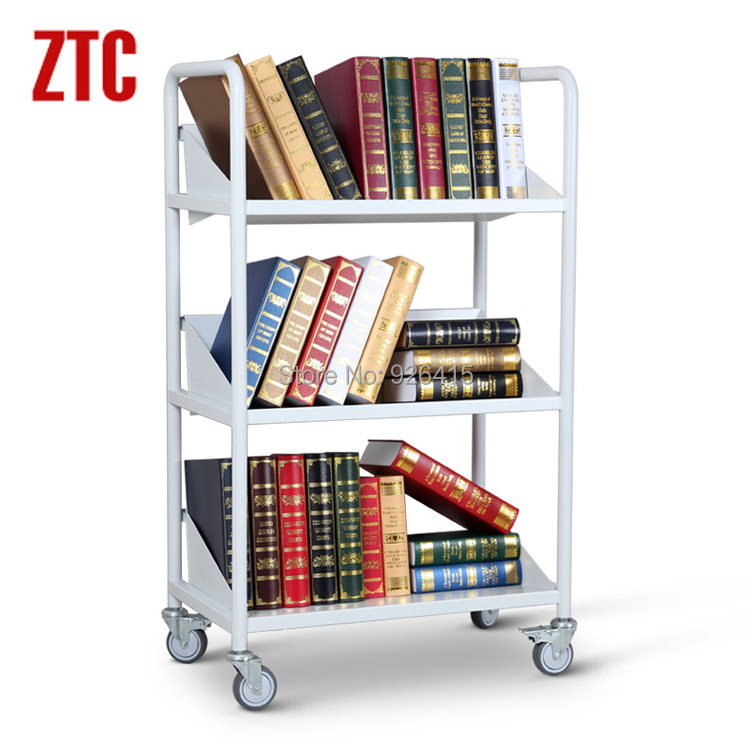 2015 Three layers bookcase,v-shape library book mute cart,mobile bookcase with wheels RCA-3S-LIB05(China (Mainland))