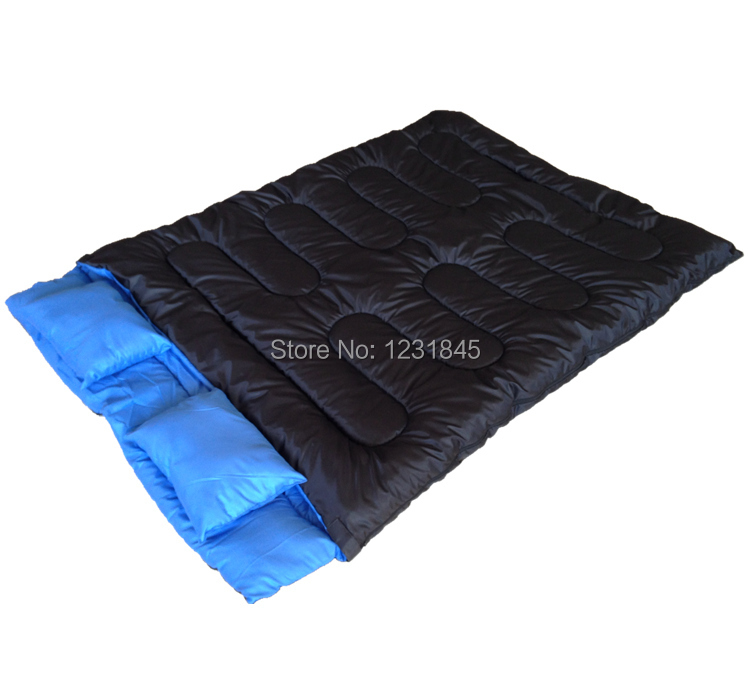"Huge Double Sleeping Bag 23F/-5C 2 Person Camping Hiking 86""x60"" W/2 Pillows New(China (Mainland))"