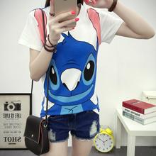Top selling summer women t shirt Lilo&Stitch pattern print cute femininas camiseta short sleeve crop Plus Size sexy female tops(China (Mainland))