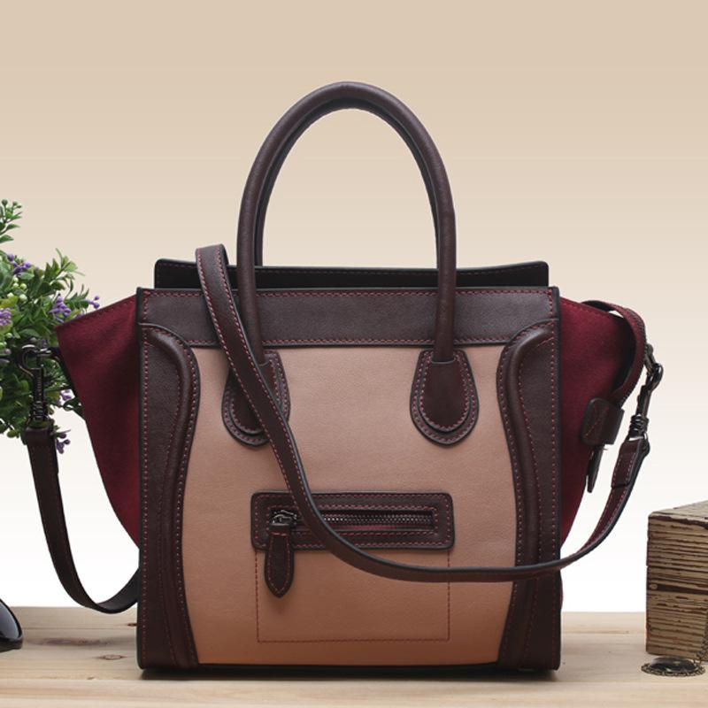 New 2015 Famous Designers C Brands Smiley line Bags Plain Genuine Leather Women Handbag Women Message Bag(China (Mainland))