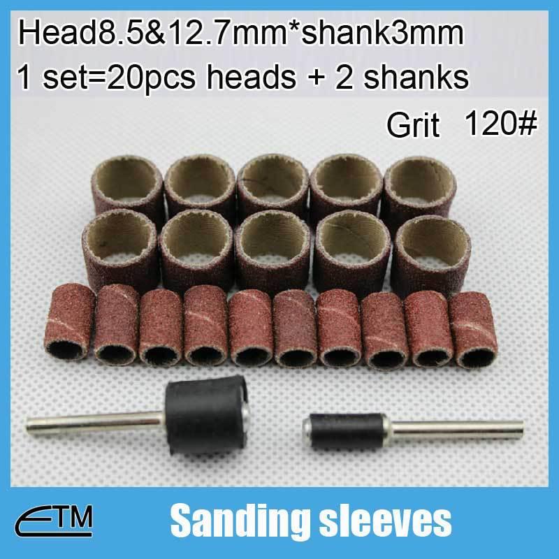 20pcs Sanding sleeves dremel coated abrasive tools abrasive clothes roll for polishing Head8.5mm&12.7mm*shank3mm grit 120# SJ002(China (Mainland))