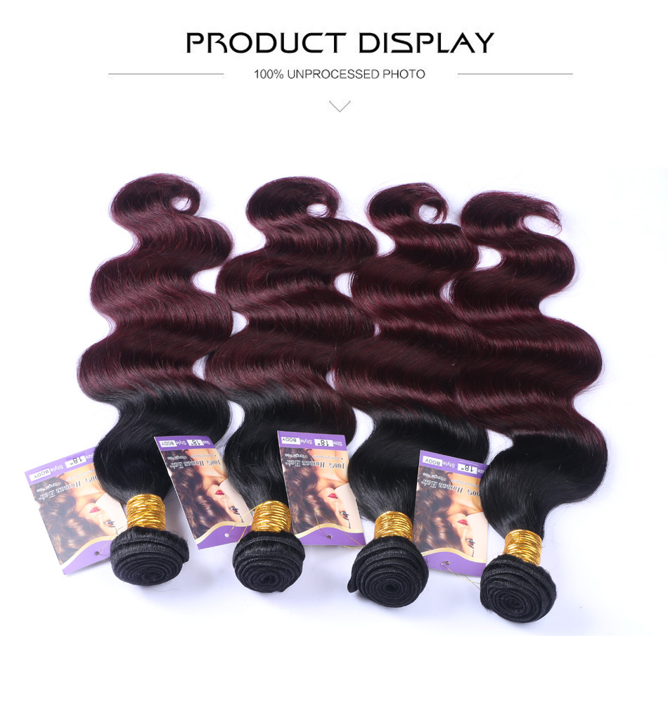Cheap Ombre Brazilian Virgin Hair With Closure Body Wave 3/4 Bundles 99J Ombre Burgundy Brazilian Hair Weave Bundles And Closure