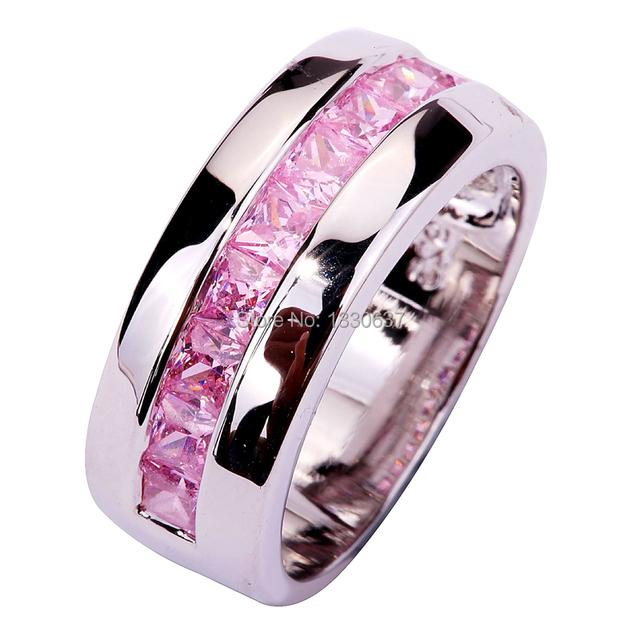 WY Оптовая Изысканный Дерзкий Изумрудный Cut Розовый Топаз 925 Серебряное Кольцо ...