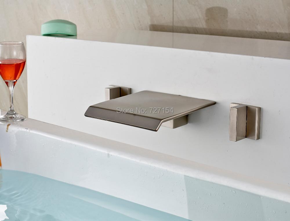 Фотография Free Shipping! Dual Thin Handles Nickel Brushed Basin Faucet Wall Mounted Waterfall Sink Mixer