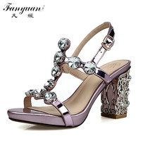 Buy 2017 Summer Women Sexy Sandals High Heels Hot Sale Sandals Bling Crystal Party Shoes Gladiator Genuine Leather Female Pumps for $74.20 in AliExpress store