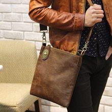 Promotion Vintage Crazy Horse PU Leather Small Men Messenger Bags Mini Mobile Phone Bag Cigarette Bag Men's Shoulder Bags