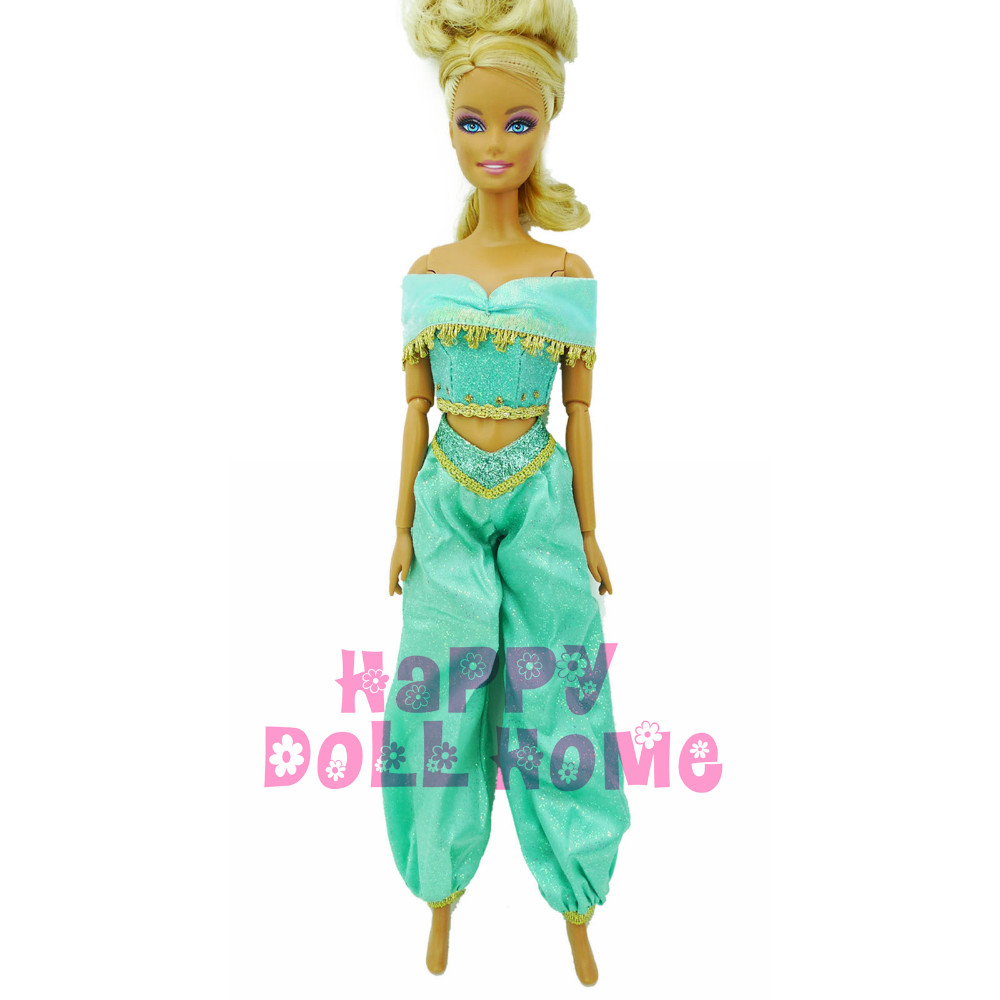 Fairy Story Princess Jasmine Outfit Tops + Trousers Garments For Barbie Doll Aladdin Lamp Arab Costume Puppet Play Home Toys Reward