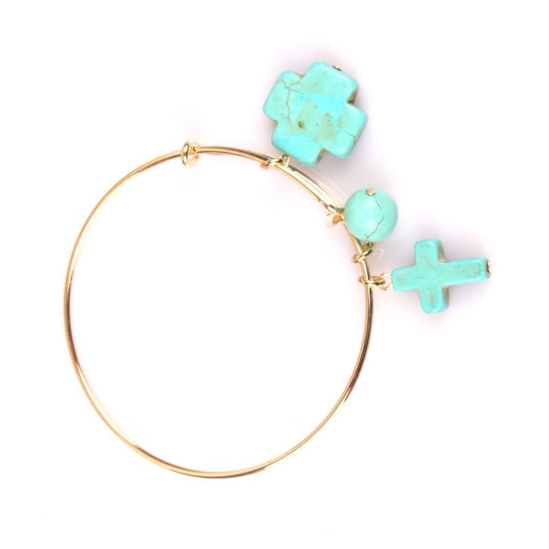 New 2015 Women charm bracelets & bangles Simple Style Can Adjust Turquoise Cross Ball Gold bracelets For Women B12(China (Mainland))