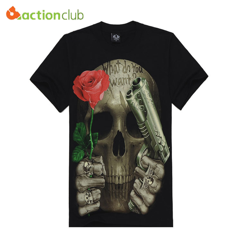 High Quality M-XXXL New Fashion Cotton Brand T Shirt Men 3D Tshirt Clothes Skull Animal Causul T-Shirts Camisetas Masculinas(China (Mainland))