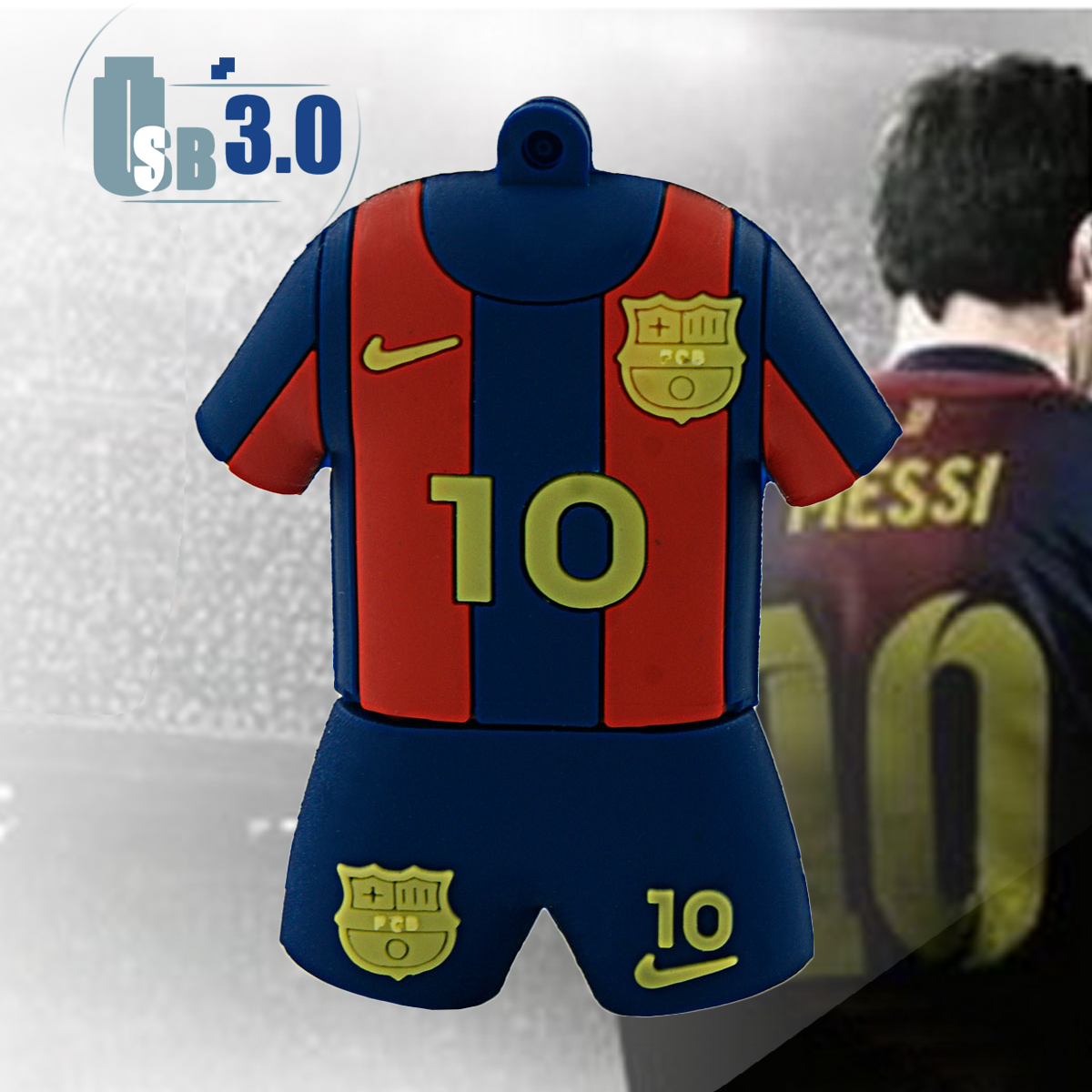 Cartoon Barcelona Soccer Jersey Meissi Pen Drive 8GB 16GB 32GB 64GB maillot de foot barcelone USB3.0 Flash Drive USB Key VEHOOT(China (Mainland))
