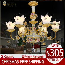 Genesis 2015 luxury classical royal ceramic art metal crystal chandeliers lights handmade glass art shade(China (Mainland))