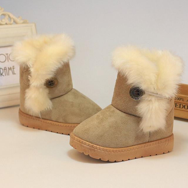 Толстые теплые Детская обувь для Девочек 2016 Зима Дети снегоступы ботинки Мальчиков и дети Замши хлопок сапоги Ребенок квартира с обуви